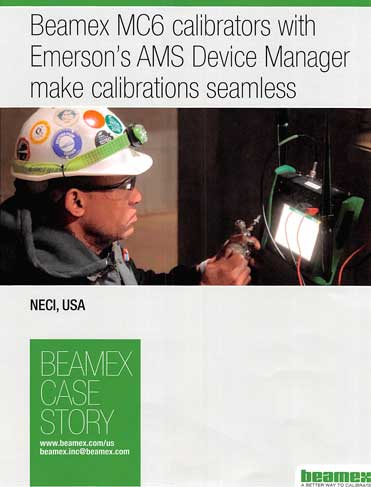 NECI Uses Beamex MC6 calibrators with Emerson's AMS Device Manager